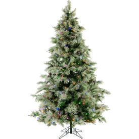 Fraser Hill Farm Artificial Christmas Tree - 7.5 Ft. Glistening Pine Tree - Multi-Color LED Lights