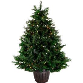 Fraser Hill Farm Artificial Christmas Tree - 5 Ft. Northern Cedar Teardrop in Pot - Clear LED Lights