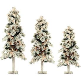 Fraser Hill Farm Artificial Christmas Tree - 3-Piece Snowy Alpine Tree Set - Clear Lights