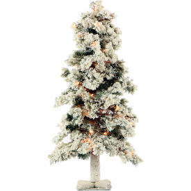 Fraser Hill Farm Artificial Christmas Tree - 2 Ft. Snowy Alpine Tree - Clear Lights