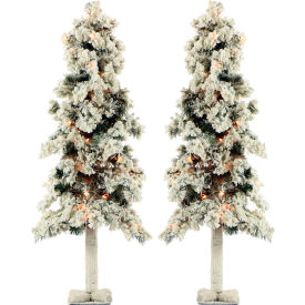Fraser Hill Farm Artificial Christmas Tree - 4 Ft. Snowy Alpine Tree - Clear Lights - Set of 2