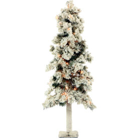 Fraser Hill Farm Artificial Christmas Tree - 4 Ft. Snowy Alpine Tree - Clear Lights