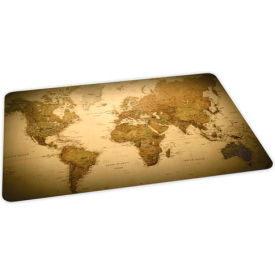 Aleco® World Map Design Hard Floor Office Chair Mat 46 x 60 Rectangle, Crystal Edge