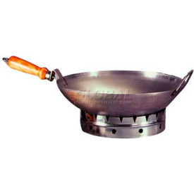 """Allied Metal Spinning WLH16 - Wok, Round Bottom, 16"""" Cold Rolled Steel, One Long Handle"""