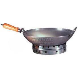 """Allied Metal Spinning WS20 - Wok, 20"""", Round Bottom, 18 Gauge Steel, 2 Handles"""