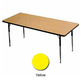 "Activity Table, 24"" X 36"", Rectangle, Juvenile Adj. Height, Yellow - Pkg Qty 2"