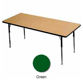 "Activity Table, 24"" X 48"", Rectangle, Juvenile Adj. Height, Green - Pkg Qty 2"