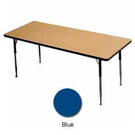 "Activity Table, 24"" X 60"", Rectangle, Juvenile Adj. Height, Blue - Pkg Qty 2"