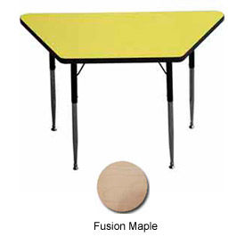 """Activity Table, 24"""" x 24"""" x 48"""", Trapezoid, ADA Compliant Adj. Height, Fusion Maple  - Pkg Qty 2"""