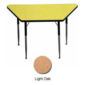 "Activity Table - Trapezoid - 24"" X 24"" X 48"", Standard Adj. Height, Light Oak"