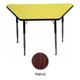 """Activity Table, 24"""" X 24"""" X 48"""", Trapezoid, Standard Adj. Height, Walnut - Pkg Qty 2"""