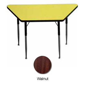 """Activity Table, 24"""" X 24"""" X 48"""", Trapezoid, ADA Compliant Adj. Height, Walnut - Pkg Qty 2"""