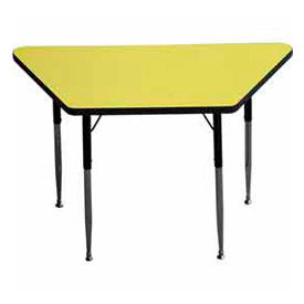 "Activity Table, 24"" X 24"" X 48"", Trapezoid, ADA Compliant Adj. Height, Yellow - Pkg Qty 2"