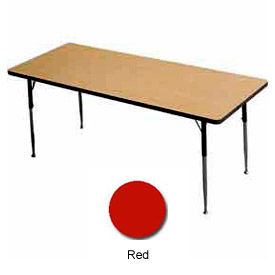 """Activity Table, 30"""" X 60"""", Rectangle, Juvenile Adj. Height, Red - Pkg Qty 2"""