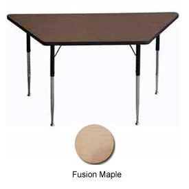 "Activity Table - Trapezoid - 30"" X 30"" X 60"", Standard Adj. Height, Fusion Maple"