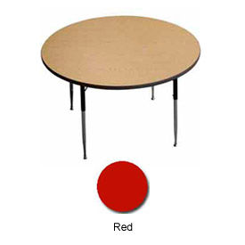 """Activity Table, 42"""" Diameter, Round, ADA Compliant Adj. Height, Red - Pkg Qty 2"""