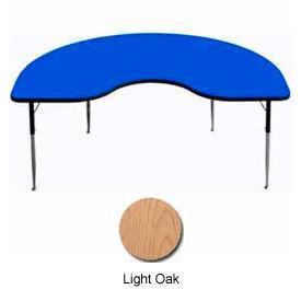 "Activity Table - Kidney - 48"" x 72"", Standard Adj. Height, Light Oak"