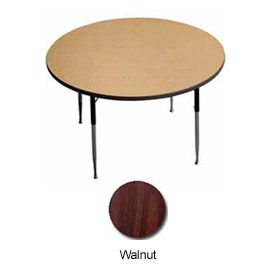 "Activity Table, 48"" Diameter, Round, Juvenile Adj. Height, Walnut - Pkg Qty 2"