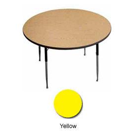 "Activity Table, 48"" Diameter, Round, Juvenile Adj. Height, Yellow - Pkg Qty 2"