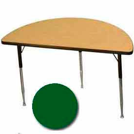 "Activity Table, 24"" X 48"", Half-Round, ADA Compliant Adj. Height, Green - Pkg Qty 2"