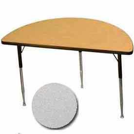 "Activity Table, 24"" X 48"", Half-Round, ADA Compliant Adj. Height, Gray Nebula - Pkg Qty 2"