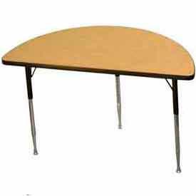 "Activity Table - Half-Round - 24"" X 48"", Juvenile Adj. Height, Light Oak"