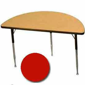 "Activity Table, 24"" X 48"", Half-Round, Standard Adj. Height, Red - Pkg Qty 2"