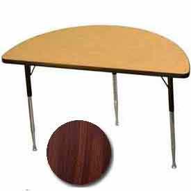 "Activity Table, 24"" X 48"", Half-Round, Juvenile Adj. Height, Walnut - Pkg Qty 2"