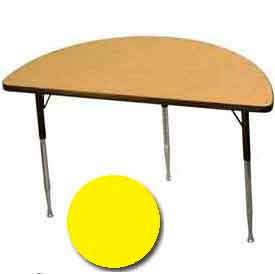 "Activity Table, 24"" X 48"", Half-Round, Standard Adj. Height, Yellow - Pkg Qty 2"