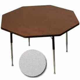 "Activity Table, 48"" Diameter, Octagon, ADA Compliant Adj. Height, Gray Nebula - Pkg Qty 2"