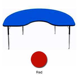 "Activity Table, 48"" x 96"", Kidney, Standard Adj. Height, Red"