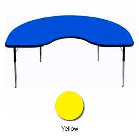 "Activity Table, 48"" x 96"", Kidney, Standard Adj. Height, Yellow"