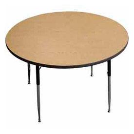 "ADA Activity Table - Round - 60"" Diameter, Adj. Height, Light Oak"