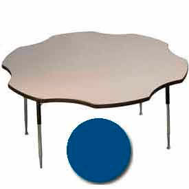 "Activity Table, 60"" Diameter, Flower, Standard Adj. Height, Blue"