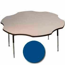 "Activity Table, 60"" Diameter, Flower, Juvenile Adj. Height, Blue"