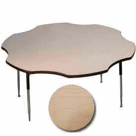 "Activity Table, 60"" Diameter, Flower, Standard Adj. Height, Fusion Maple"