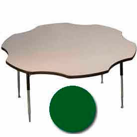"Activity Table, 60"" Diameter, Flower, Juvenile Adj. Height, Green"