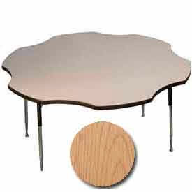 "Activity Table, 60"" Diameter, Flower, Standard Adj. Height, Light Oak"