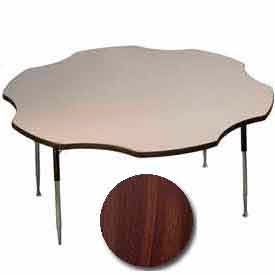 "ADA Activity Table - Flower -  60"" Diameter, Adj. Height, Walnut"