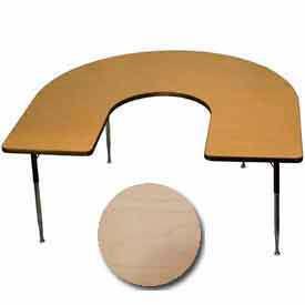 "Activity Table, 60"" x 66"", Horseshoe, Juvenile Adj. Height, Fusion Maple"