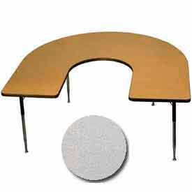 "Activity Table - Horseshoe - 60"" x 66"", Standard Adj. Height, Gray Nebula"