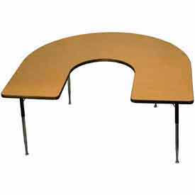 "Activity Table - Horseshoe - 60"" x 66"", Juvenile Adj. Height, Light Oak"