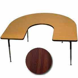 "Activity Table, 60"" x 66"", Horseshoe, Juvenile Adj. Height, Walnut"