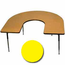 "Activity Table, 60"" x 66"", Horseshoe, Standard Adj. Height, Yellow"