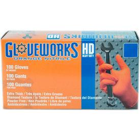 Ammex® GWON Gloveworks Industrial Grade Textured Nitrile Gloves, Powder-Free, Orng, XL, 100/Box