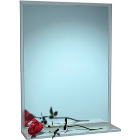 """ASI® Stainless Steel Channel Frame Mirror with Shelf - 18""""Wx36""""H - 0625-1836"""