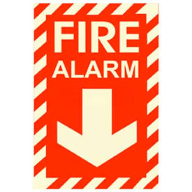 Photoluminescent Fire Alarm Rigid PVC Sign, Non-Adhesive