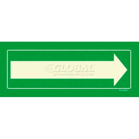 Photoluminescent Long Arrow, Rigid PVC Sign, Non-Adhesive
