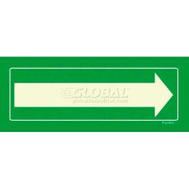 Photoluminescent Long Arrow, Peel-And-Stick Self-Adhesive Sign