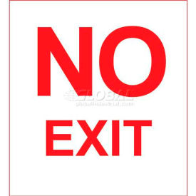 Photoluminescent No Exit Rigid PVC Sign With Adhesive Backing